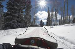 Snowmobiler Woman Riding Motor Sledge - stock photo