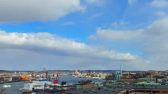 Clouds over the port city. Gothenburg, Sweden. Time Lapse Stock Footage
