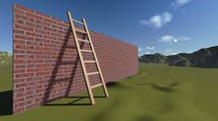 ladder and wall - stock illustration