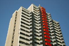 Germany, North Rhine Westphalia, Cologne Chorweiler, High-rise apartment Stock Photos