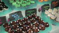 Stock Video Footage of cupcakes on display