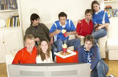 Friends Watching Football Match Stock Photos