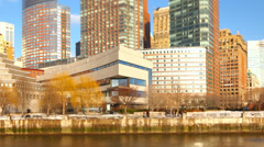Boat Ride NYC Waterfront Tilt Shift - stock footage