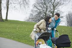 Stock Photo of Mothers With Strollers In Park