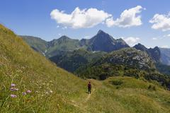 Italy, Friuli-Venezia Giulia, Carnic Alps, Hiker at Kleiner Pal Stock Photos