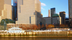 Boat Ride NYC Waterfront Tilt Shift Stock Footage