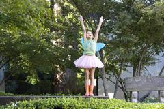 Teenage Girl With Fairy Wings - stock photo