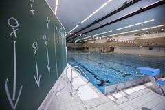 Water polo tactics blackboard Stock Photos