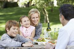 Family Of Four Having Picnic In Park Stock Photos