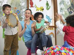 Stock Photo of Teacher With Children Playing Music In Class