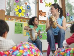 Opettaja Tyttö Musiikin luokassa Kuvituskuvat