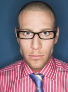 Portrait Of Serious Bald Man In Glasses - stock photo