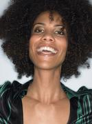 Closeup Of Young Afro Woman Laughing - stock photo
