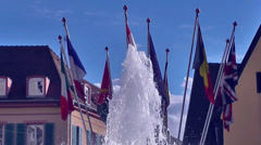 Water Fountain With National Flags - stock footage
