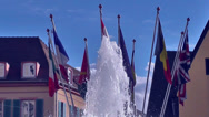 Water Fountain With National Flags Stock Footage