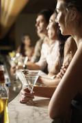 Multiethnic Group At The Bar - stock photo