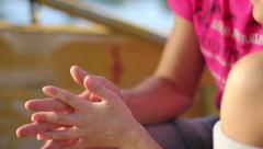 Man and woman taking care of each other, hands touching Stock Footage
