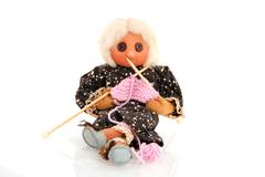 knitting grandma - stock photo