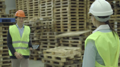 Male holding digital tablet and shaking hands with female logistics worker - stock footage
