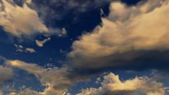 Loopable panoramic cloudscape. Evening lighting. - stock footage