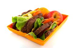 healthy open lunch box - stock photo
