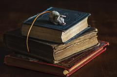 Staple of antiquarian, old books with funny bookmark - stock photo