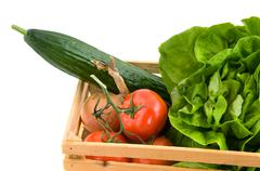 Crate with vegetable ingredients Stock Photos