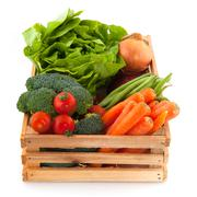Crate with vegetables Stock Photos