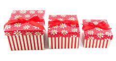 row with christmas presents - stock photo