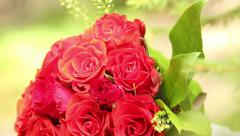 Bouquet of flowers roses for bride, marriage, pan Stock Footage