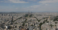 Ultra HD 4K Aerial View Famous Eiffel Tower Paris Skyline European Roofs sunny Stock Footage