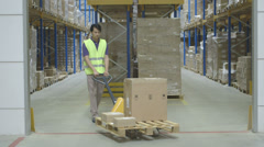 Woman using digital tablet in logistics warehouse - stock footage