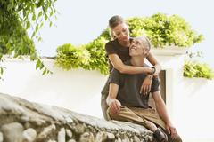 Romantic Couple Looking At Each Other In Granada - stock photo