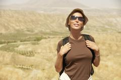 Female Hiker Standing On Top Of Mountain Stock Photos