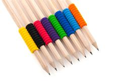 Pencils with colorful grip Stock Photos