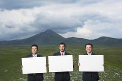 Businessmen Holding Blank Signs In Field - stock photo