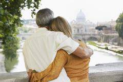 Couple Embracing In Rome Stock Photos