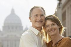 Happy Couple Embracing In Rome Stock Photos