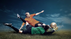 Timelapse view of soccer player with traditional ball Stock Footage