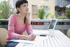 Female Artist Thinking And Drawing Stock Photos