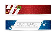 Christmas Banners1Set of Christmas Banners with Decorative Elements Stock Illustration