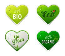 Set of bio, eco, organic heart sticker elements Stock Illustration