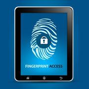 Fingerprint Scanning Tablet Stock Illustration