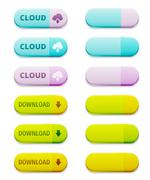 Set of colorful download and cloud computing buttons Stock Illustration