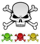Evil Skulls värikäs kuvitus Set Piirros