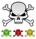 Evil Skulls Colorful Illustration Set Stock Illustration