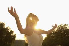 Beautiful Woman Practicing Yoga - stock photo