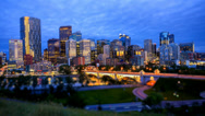 Stock Video Footage of Calgary Skyline at Night, Time Lapse