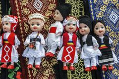 Dolls dressed in traditional romanian folk costumes-1 Stock Photos