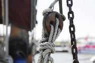 Stock Photo of Germany, Lower Saxony, East Frisia, Langeoog, detail of a rope of a sailing ship